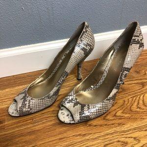 Enzo Angiolini | Faux snake skin peep toe heels